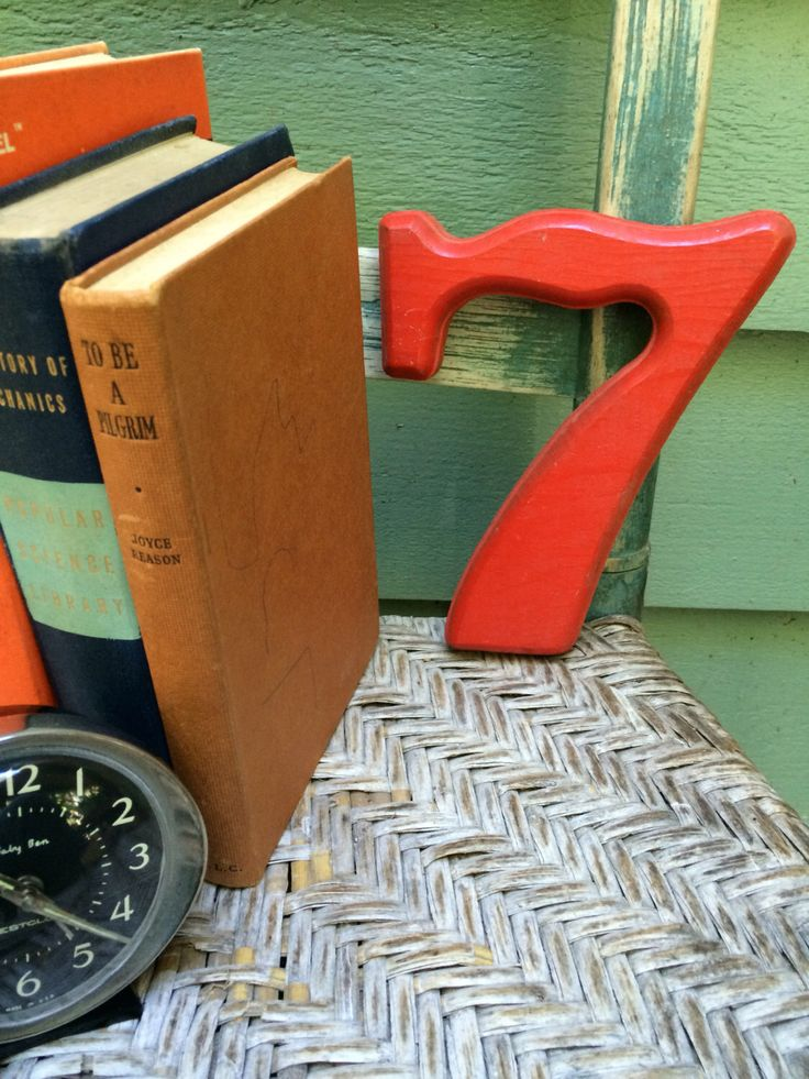 Wooden number 7,wooden house number,photo prop,7th birthday,eclectic decor,vintage orange decor,retro numbers,retro kids room,vintage shelf by three20sycamorelane on Etsy https://www.etsy.com/listing/467430148/wooden-number-7wooden-house-numberphoto