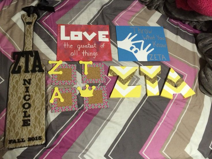 Big little crafts ZTA, zeta, lace, paddle, black, gold, letters, yellow, gold glitter, chevron, canvas, love, throw what you know, diy, painted