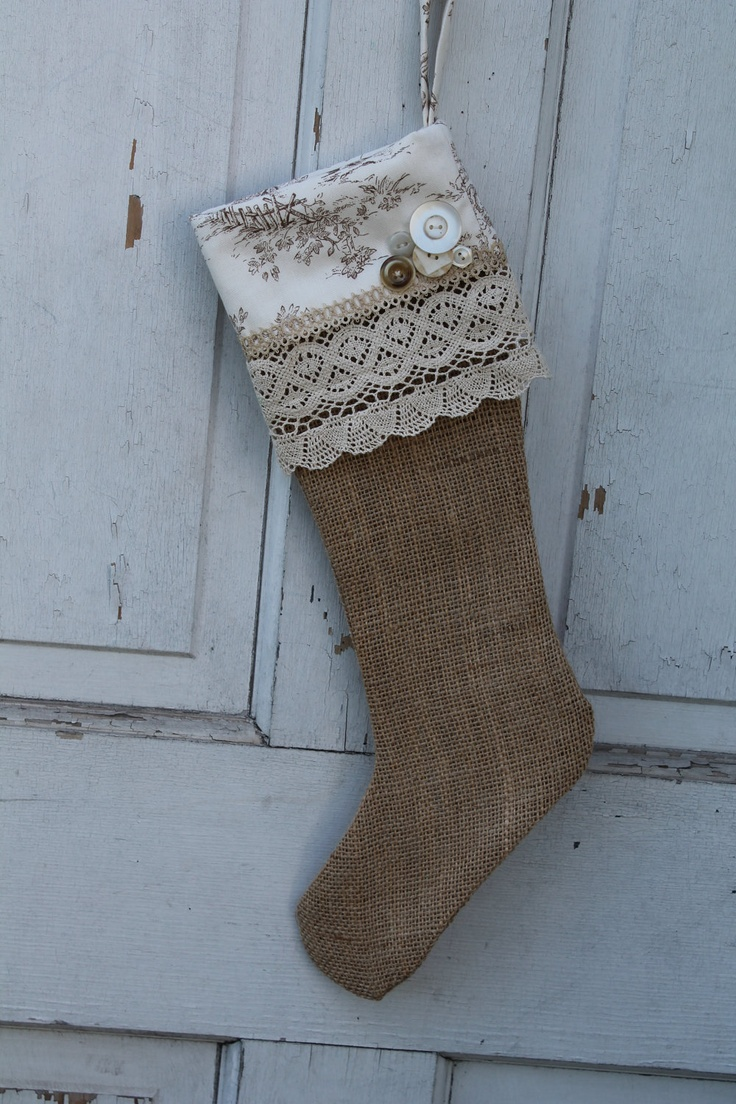 burlap and toile christmas stocking christmas pinterest toile burlap and stockings. Black Bedroom Furniture Sets. Home Design Ideas