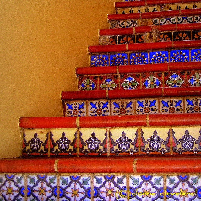I'd love to bring in Moroccan tiles and incorporate them in the front steps of the porch.
