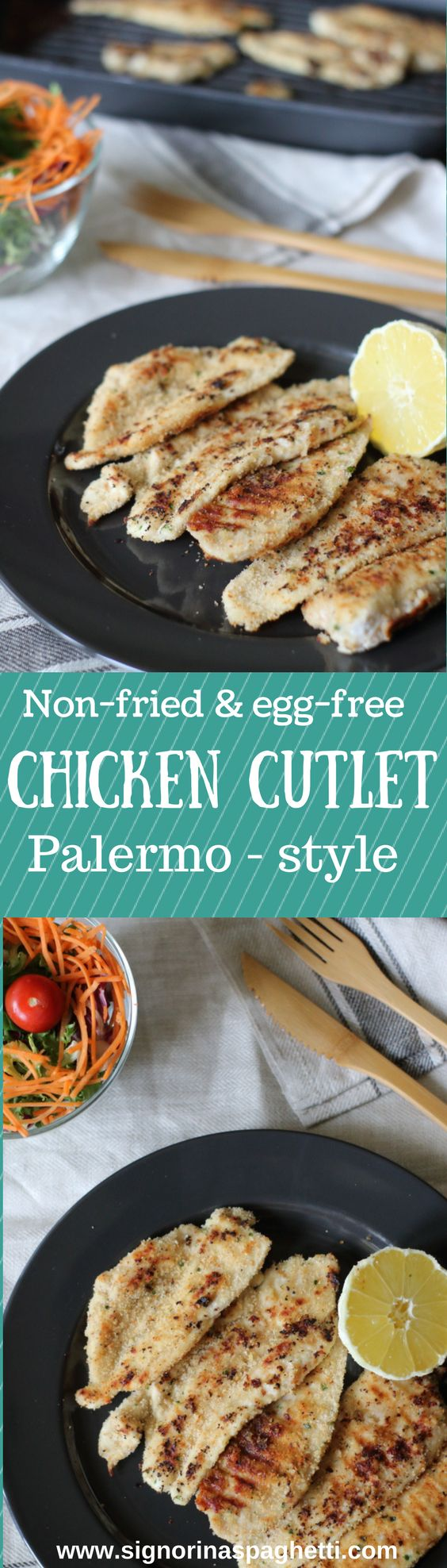 This chicken cutlet Palermo style recipe comes from my mother's repertory, and it is part of her plan to keep all family fit and healthy. Somebody should tell her that if she keeps on baking delicious cakes and pies every day (I just see the …