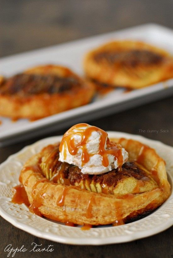 These easy to make Apple Tarts have soft, tart apples, sweet cinnamon and sugar on a flaky pastry crust.