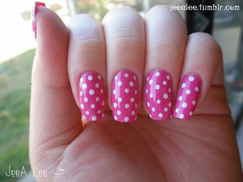 40 best nails images on pinterest bright nails closet and nail art pink and white polka dot nail art design sciox Image collections