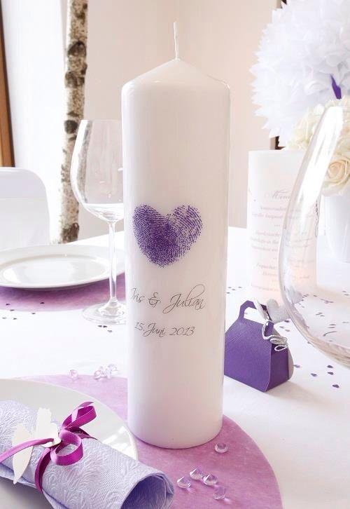 Hochzeitskerze mit Fingerabdruck