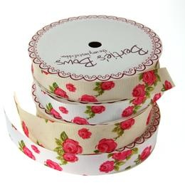 Printed Vintage Rose Ribbon