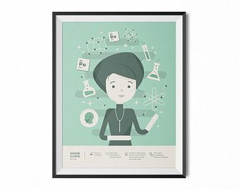 Marie Curie portrait, infographic print, science wall art, historical figures, Marie Curie art, girl's room, boy's room, classroom decor,art