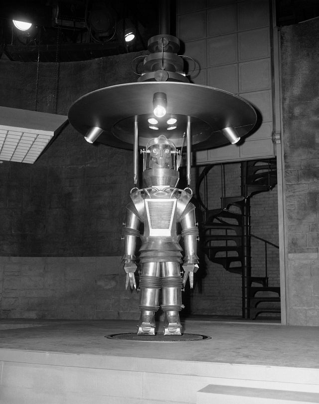 "Tobor, the robot star of the 1954 Hollywood science fiction thriller Tobor the Great, has his batteries charged ""supersonically"" in a scene from the film."