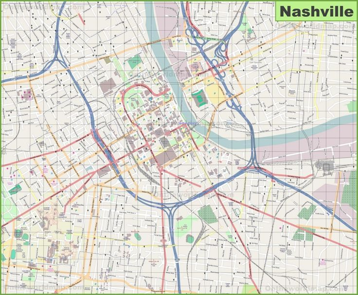 Large detailed map of Nashville