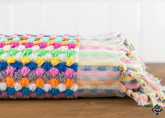 TOTALLY OBSESSED WITH THIS TOWEL !!!!!   PomPom Towel Multi-color Turkish Towel Beach by LongestThread
