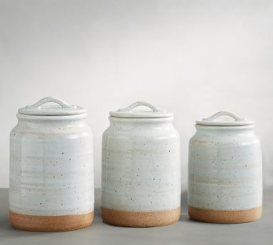 $90 ceramic pottery vintage look Portland Canisters, Set of 3 #potterybarn