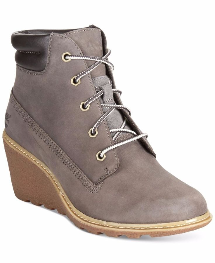 TIMBERLAND SALE Amston Grey Nubuck Leather Wedge Lace Up Boot Ankle Bootie 8M #Timberland #AnkleBoots