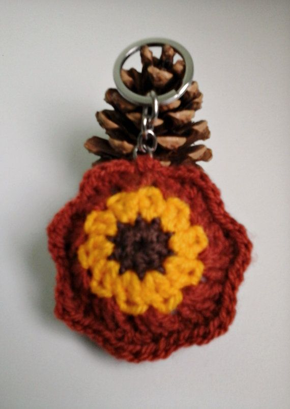 Crochet Keychain Crochet Flower Keychain  Small by ZsuzsaBoutique