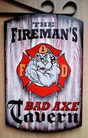 Firefighter Tavern Sign, Fireman Pub Sign-Fire Dept Bar Sign, Firemans Sign