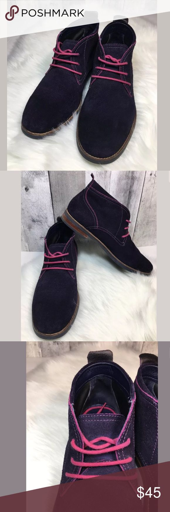 COLE HAAN 'Charles' Purple Suede Chukka Boots COLE HAAN Men's 'Charles' Purple Suede Chukka Boots Sz 11  Boots were gently worn and have normal Sign of wear - please review all pictures. Cole Haan Shoes Chukka Boots