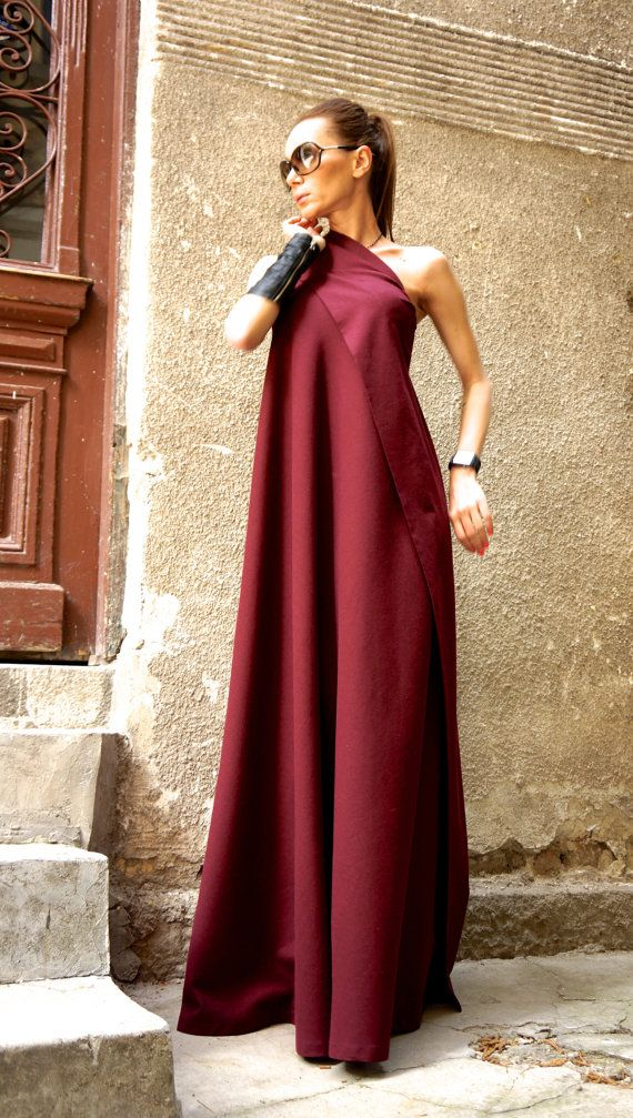 Maxi Elegant Burgundy Linen One Shoulder Dress Unique Sophisticated Extravagant Dress Perfect for different events,parties , dinners...weddings .... A definite Head Turner !!! ♥ THE PERFECT GIFT EVER Solution ♥ ♥ I wrapped all garments in my Boutique in a special UNIQUE way ♥ I Love this Gorgeous Garment! This is one of my Favourite ! Always a STAR when wearing it :) ♥ ♥ ♥ So comfortable,elegant,stunning....Youll gonna love this piece ♥ ♥ ♥ Dear to Wear Different sizes available XS,S,M,...