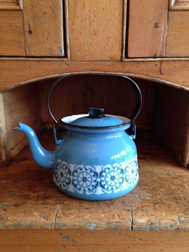 1960s Finel of Finland blue enamel kettle Sinihilkka Raija Uosikkinen in Collectables, Kitchenalia, Teapots/ Kettles | eBay