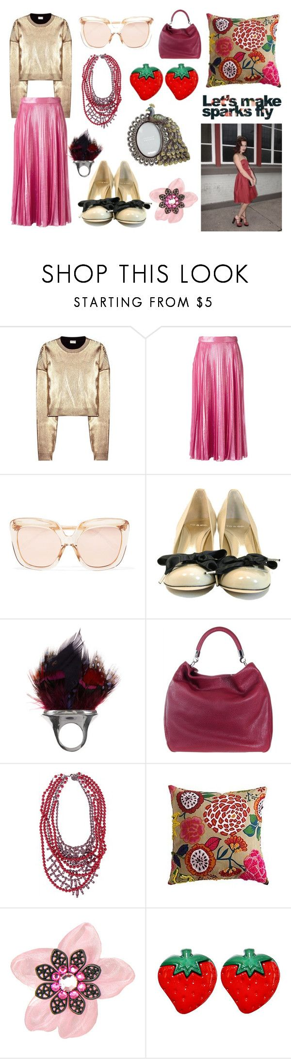 """Let's make sparks fly"" by trishoui on Polyvore featuring Yves Saint Laurent, Gucci, Linda Farrow, TO&CO., Tom Binns, Pier 1 Imports, Tarina Tarantino and Dollydagger"