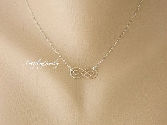 Infinity Necklace, Wedding Jewelry, Bridesmaid Gift, Double Infinity Jewelry, Best Friends Jewelry, Sisters Jewelry, Eternity Jewelry