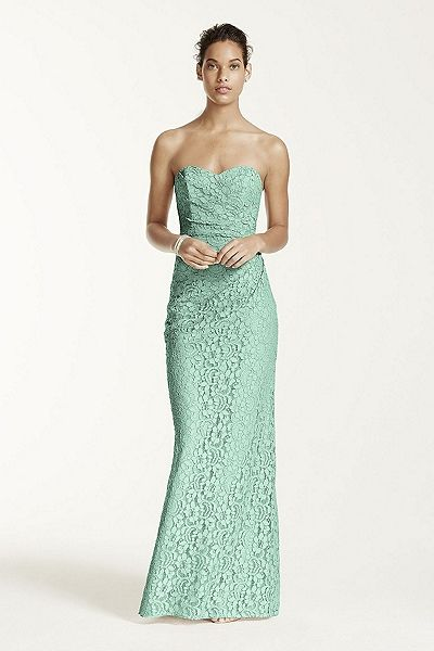 MORE COLORS Long Strapless Lace Dress with Sweetheart Neckline Style W10329 In Store & Online $189.00  davidsbridal.com