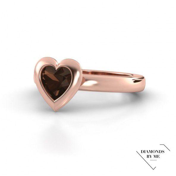 Trudy Heart - ring gemaakt van roodgoud met een prachtige hartvormige rookkwarts #heart #ring #redgold #trend #smokyquartz #diamondsbyme