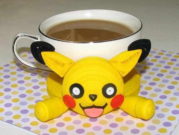 Coasters for drinks pokemon pikachu stand for the by for Quilling kitchen set