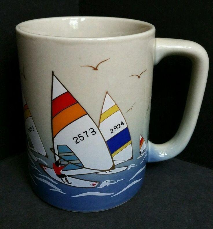 Vintage Otagiri Coffee Mug Tea Cup with Windsurfers Windsurfin Ceramic Stoneware #Oriental