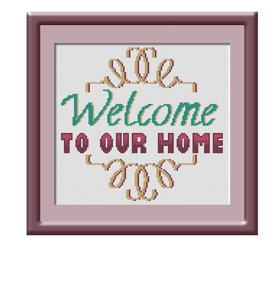 Welcome To Our Home: Welcome To Our Home Cross Stitch Pattern SALE 35% OFF By