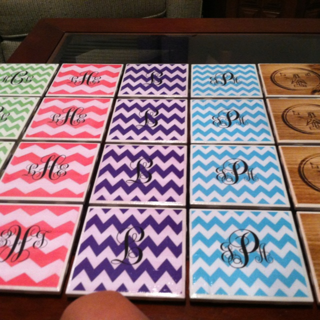 Made these monogram coasters for my roommates and i for Design your own bathroom tiles