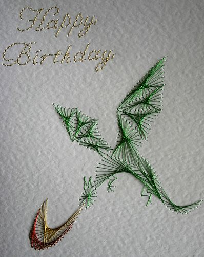 Embroidery on paper - dragon Teagan would love this