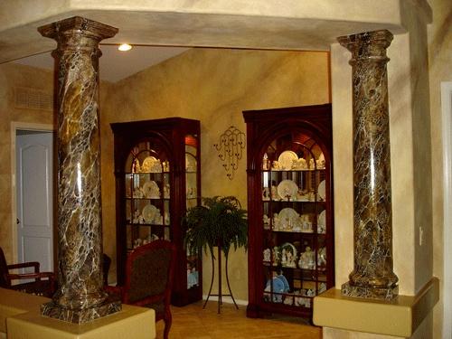 Marble Column Wall : Handpainted faux emperador marble columns beautifaux