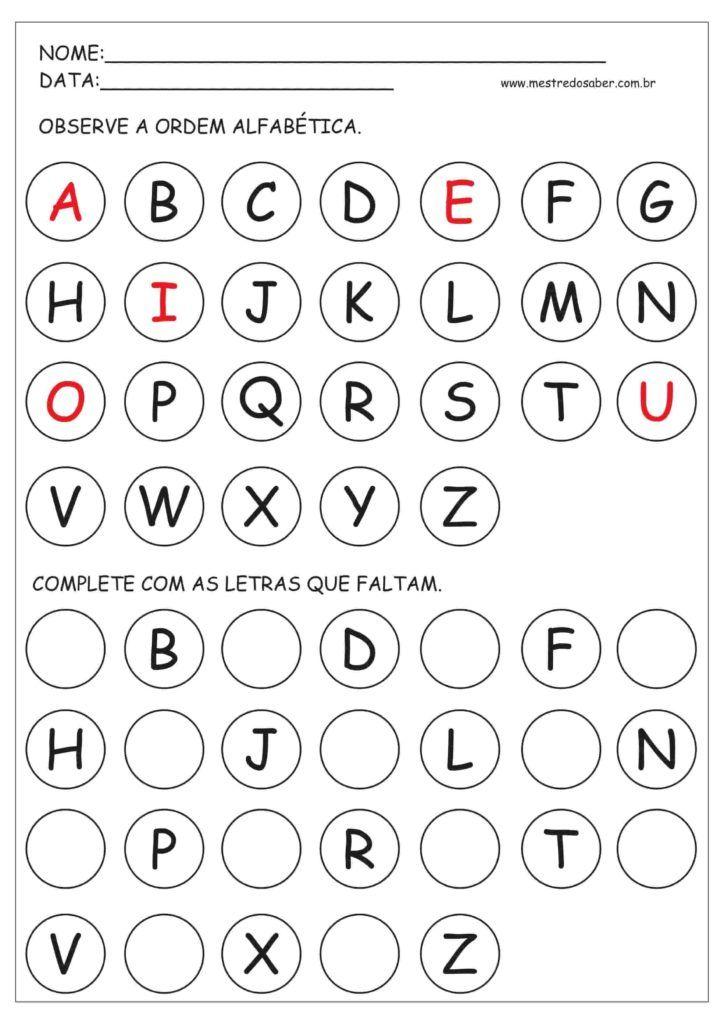 Atividades Com Alfabeto Atividades Com O Alfabeto Atividade