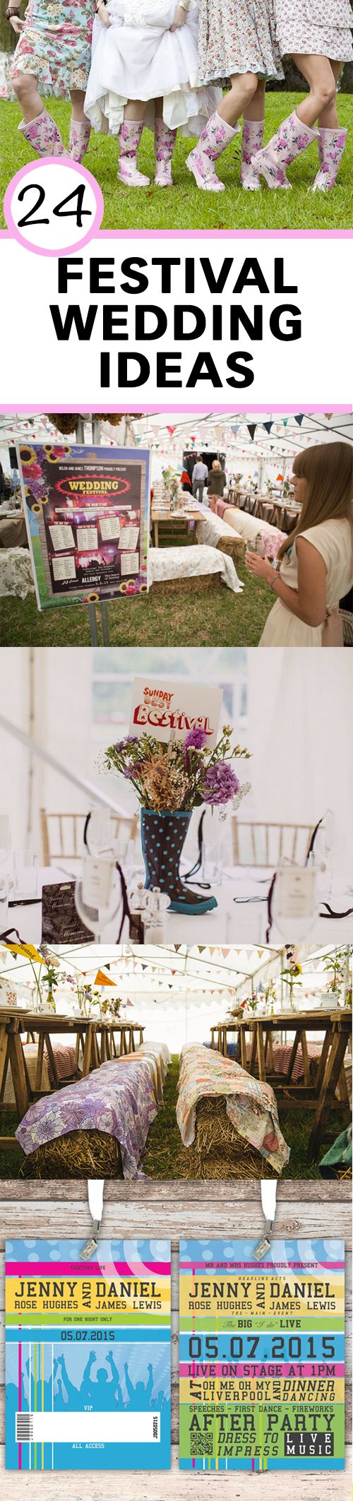 24 ideas for an awesome festival-themed wedding!                                                                                                                                                     More