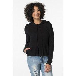 Black knit hoodie