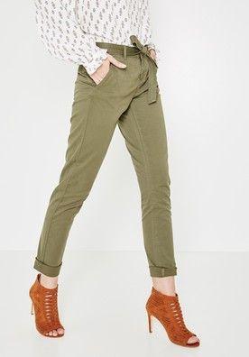 Pantalon en toile Femme - Kaki - Pantalons - Femme - Promod  89d558fd98d7