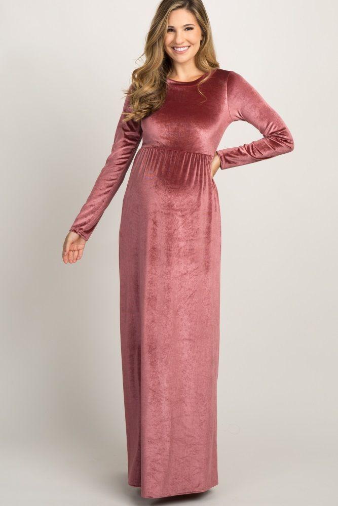 f03747363db20 Mauve Basic Velvet Maxi Dress   Maternity Dresses in 2019   Pink ...