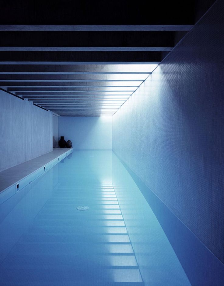 Indoor pool inside the Long House in London by Keith Williams architects _