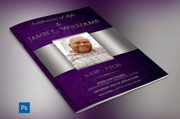 Lavender Dignity Funeral Program by Godserv Graphics on @Graphicsauthor