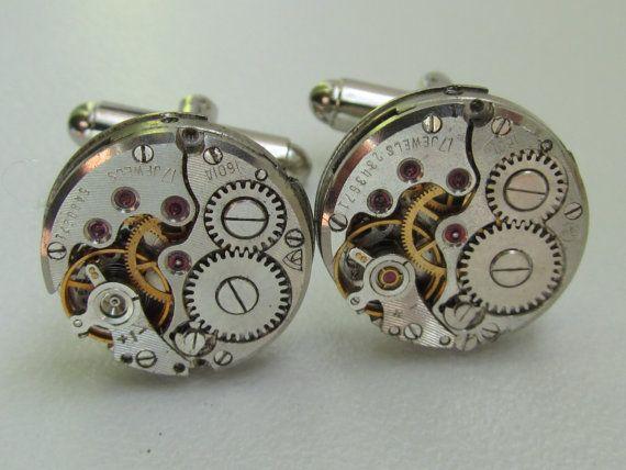 Steampunk clockwork cufflinks