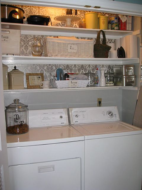 This is nice for small laundry rooms!: Spaces, Decor Ideas, Small Laundry, Shelves, Laundry Area, Laundry Closet, Laundry Rooms, Rooms Ideas, Laundrycloset