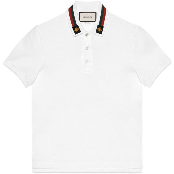 Gucci Cotton Polo With Web And Bee ($585) ❤ liked on Polyvore featuring men's fashion, men's clothing, men's shirts, men's polos, men, ready-to-wear, t-shirts & polos, mens polo collar shirts, mens collared shirt and mens polo shirts