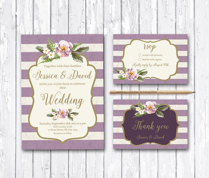 Floral Wedding Invitation Printable, Wedding Invitation Suite, Digital File - Gold & Lilac Striped Wedding Invite by tranquillina on Etsy https://www.etsy.com/listing/189029916/floral-wedding-invitation-printable