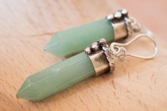 Green jade point earrings Gemstone earrings Handmade by SILVERstro