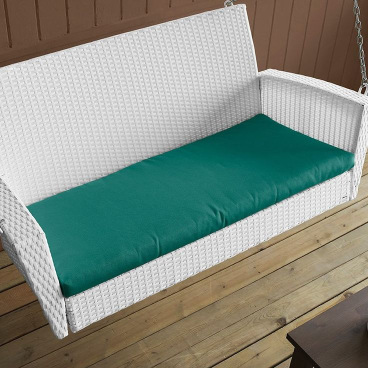 Coral Coast Soho Wicker Porch Swing with Free Cushion White Wicker with Turquoise Cushion - CW3753SP-WHITE WITH TEAL BLUE CUSHION