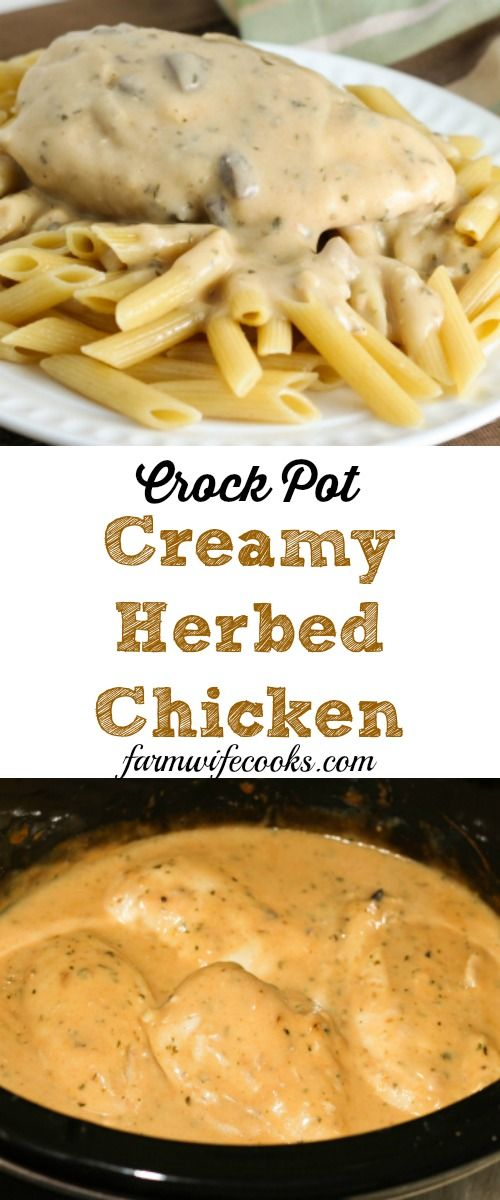 This Crock Pot Creamy Herbed Chicken recipe is easy to toss together and is one the whole family will love!