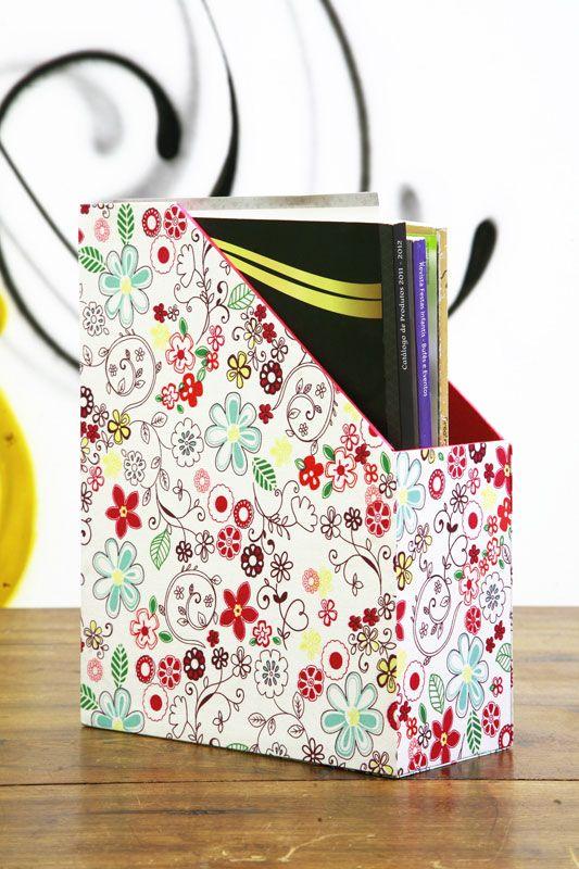 Revisteiro com cartonagem e tecido - Portal de Artesanato - O melhor site de artesanato com passo a passo gratuito