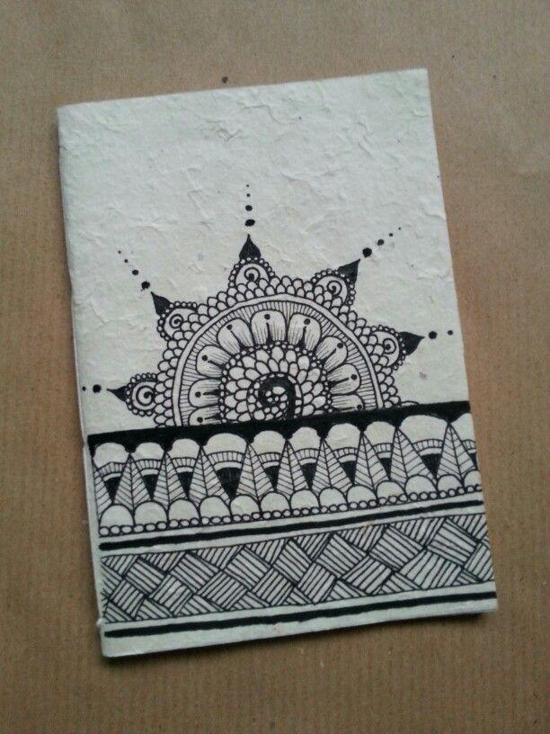 Diy notebook in rice paper. Zentangle flower