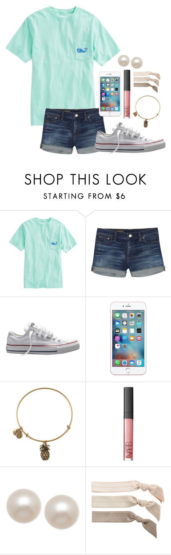 """Day 2-Last Day of School"" by whalesandprints ❤ liked on Polyvore featuring Vineyard Vines, J.Crew, Converse, Alex and Ani, NARS Cosmetics, Honora, Emi-Jay and funinthesunwithmollyandellie"