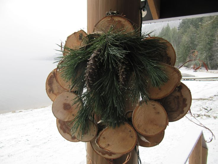 Wreath made from birch rounds.