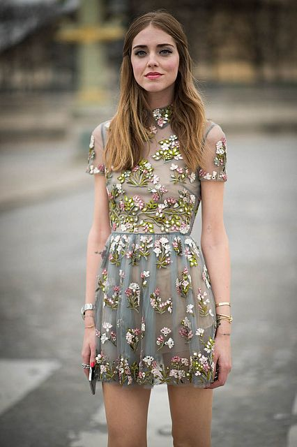 Floral Valentino dress at Paris Fashion Week
