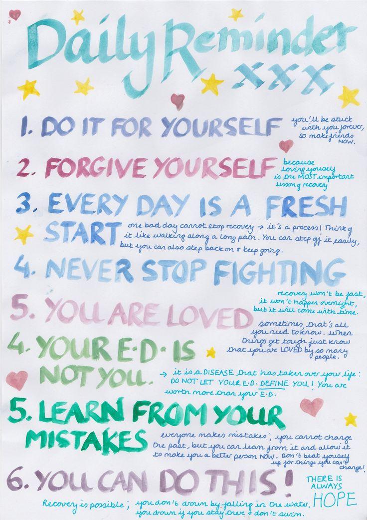 Daily reminder! Maak zo'n lijst voor jezelf en hang hem naast je spiegel! #eetstoornis #herstel